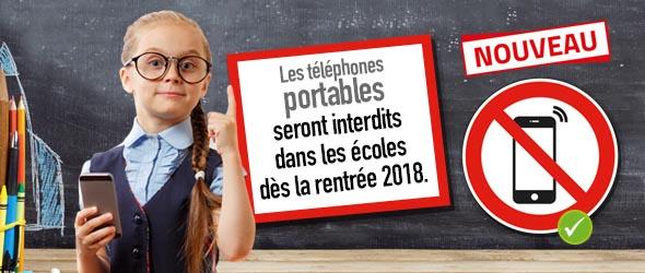 Interdiction des téléphones portables à l'école