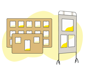 Des tableaux d'affichage en liège ou panneau d'affichage électoral