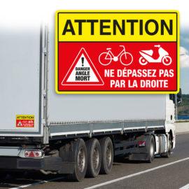 Des autocollants pour signaler le danger des angles-morts